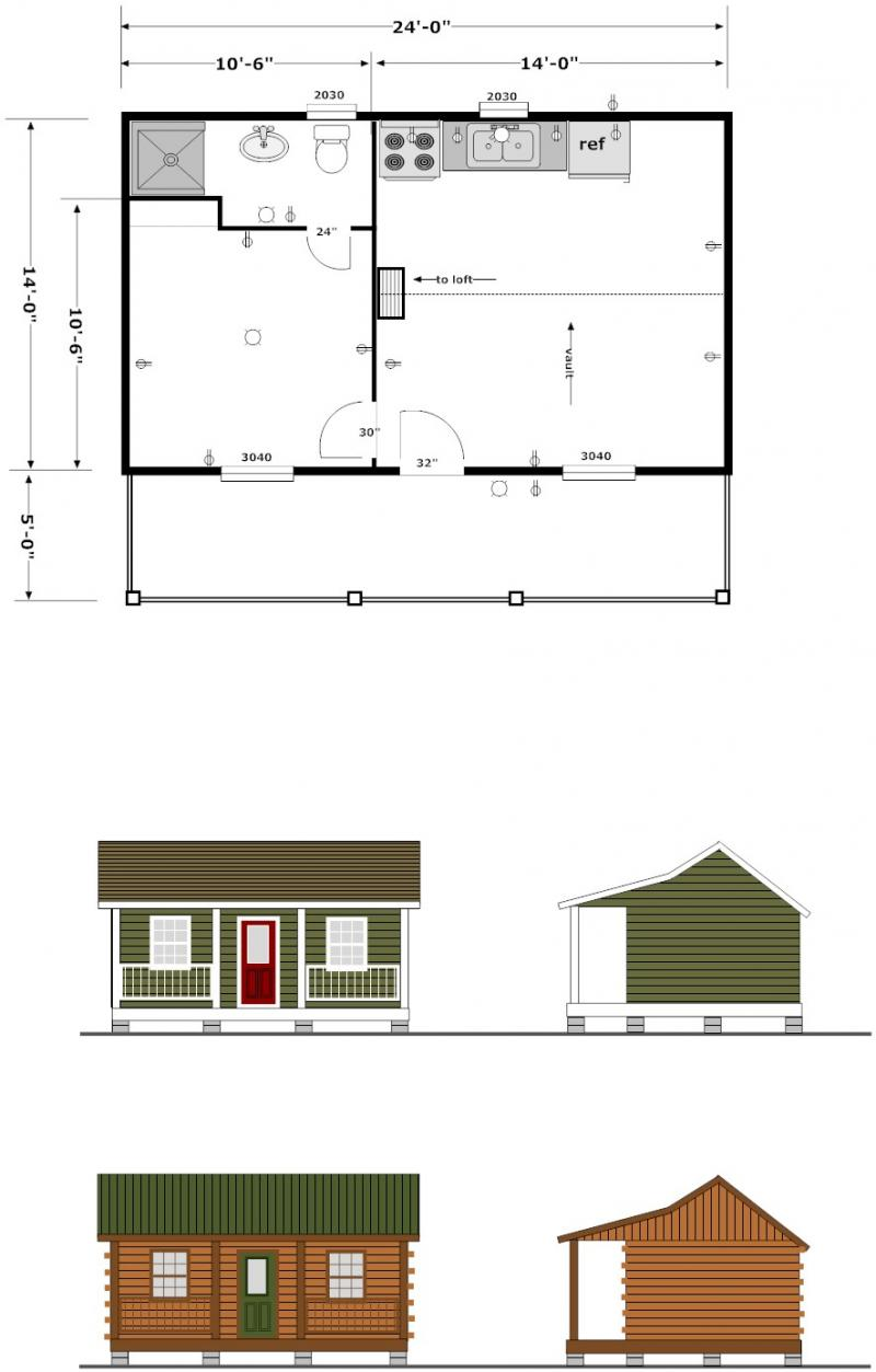 Small One-Bedroom Cabin Plans